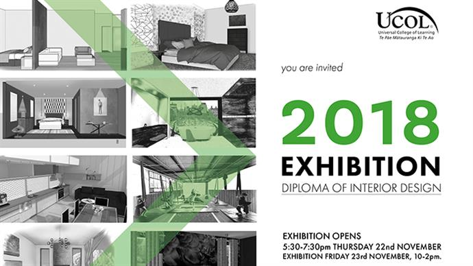 A promotional flyer for UCOL's 2018 interior design exhibition.