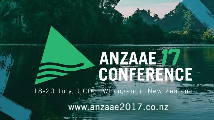 A promotional banner for ANZAAE Conference 2017 at UCOL in Whanganui