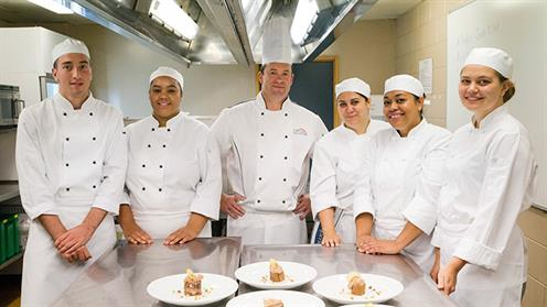 Chefs in a kitchen at UCOL
