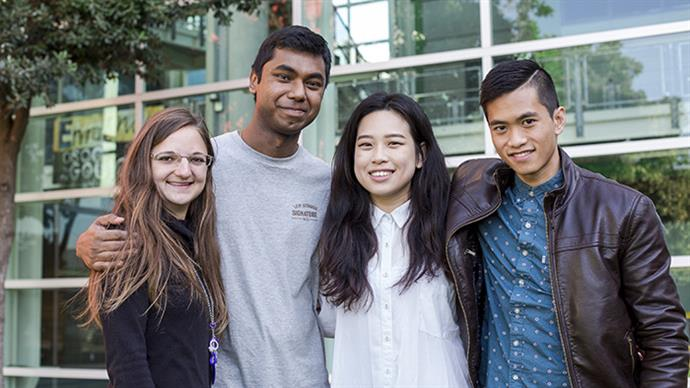 A photograph of a group of young people