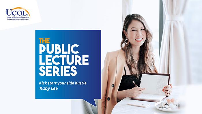 A promotional graphic featuring UCOL's Public Lecture Series with Ruby Lee