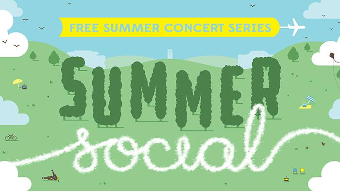 A cartoon graphic for Summer Social Concert Series in Palmerston North