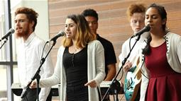 A photograph of UCOL's Certificate in Contemporary Music students performing on stage at UCOL in Palmerston North.
