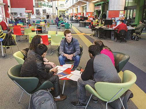 UCOL international and domestic students studying in Palmerston North atrium.