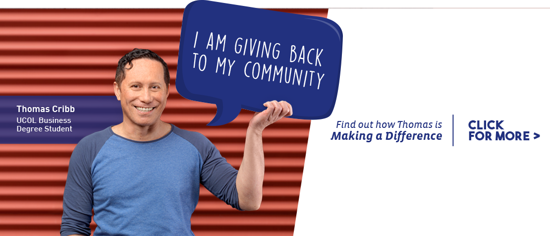 Find out how UCOL Business Graduate Thomas Cribb is giving back to his community.