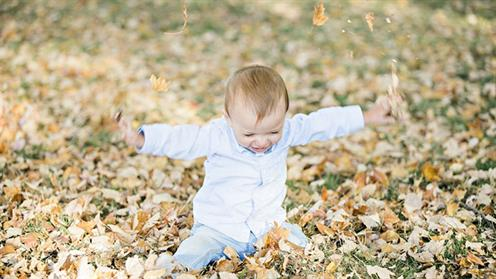 A photograph of a baby playing in leaves