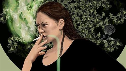 Image of a lady smoking