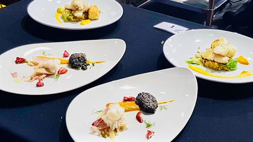 A photograph of Chatham Islands inspired dishes created by UCOL Chef Training Lecturer Mark Smith and his former student, Zach Meads.