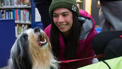 A student makes a furry friend at UCOL's StressLess Week