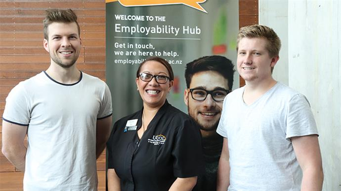 Three UCOL students at UCOL's Employability Hub.