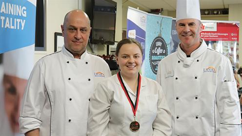 A photograph of Palmerston North Girls' High School Student Anna Kelly at UCOL's Hospitality Competition