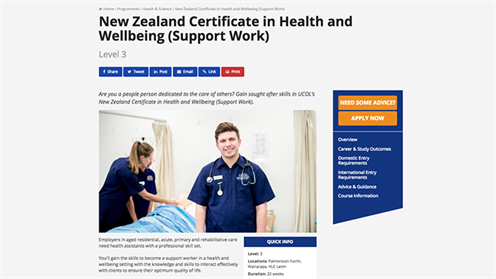 Screenshot of UCOL's NZ Certificate in Health and Wellbeing (Support Work) programme of study