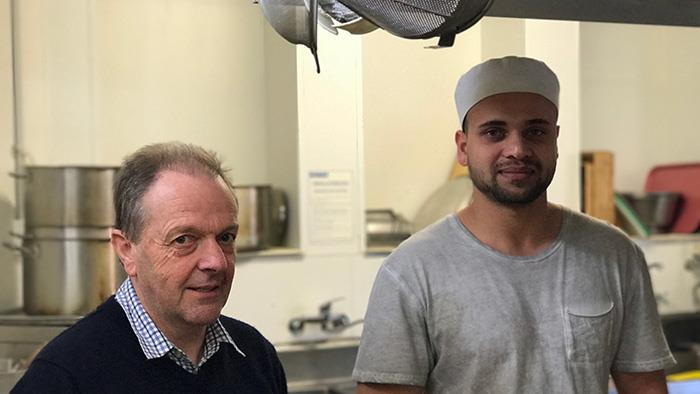Neville Gorrie and UCOL graduate Taran Sidhu in the kitchen of The Grand Hotel in Whanganui