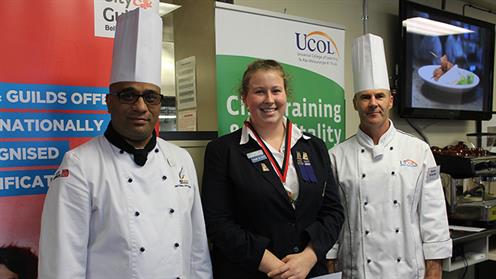Nicole Ede of Wanganui Girls College pictured with UCOL chefs Damian Peeti and Ian Drew.