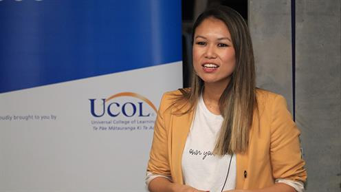Ruby Lee speaking at the UCOL Public Lecture Series