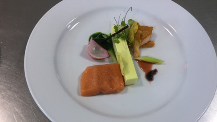 Salmon dish created by Zach Meads on day two of Worldskills 2016