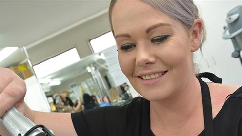 A photograph of UCOL hairdressing student, Tabitha Ayre