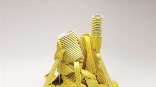 Yellow stack ceramic art work by Andrea du Chatenier
