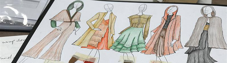 A partial photograph of clothing sketches by a UCOL Bachelor of Design and Arts (Fashion Design) student.