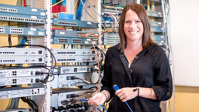 Information and Communications Technology student works in the hardware lab at our Palmerston North campus