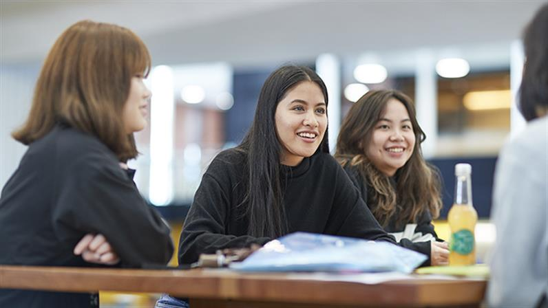 A photograph of a group of international students talking together.