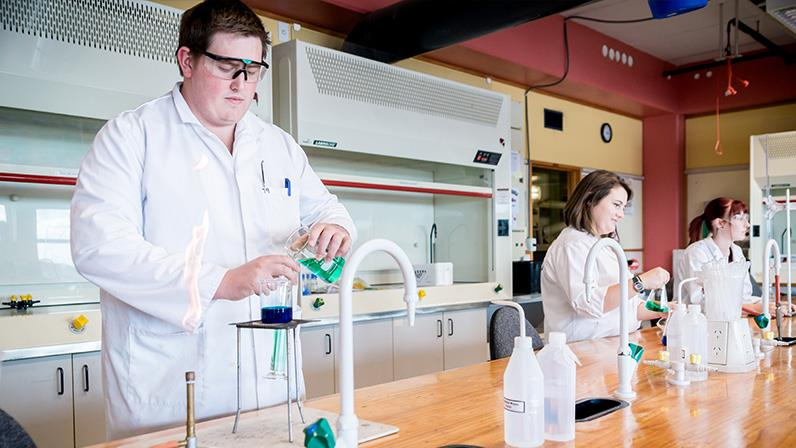 Students learning in one of the Science Labs on our Palmerston North Campus