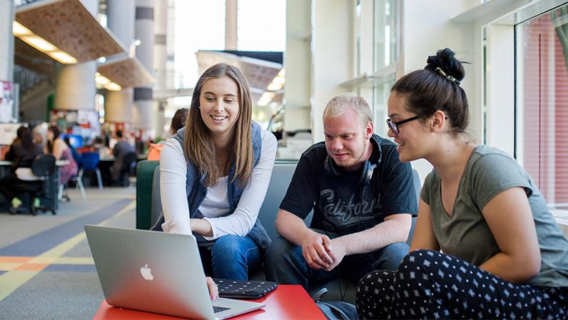 Students work together in the Palmerston North atrium