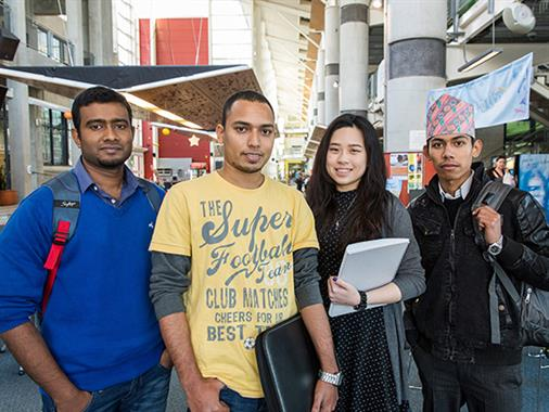 International students from various countries stand in the Palmerston North atrium