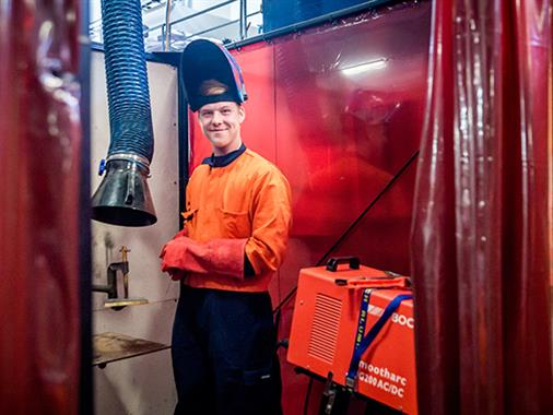 A student learns how to weld in the Regional Trades and Technology Centre at our Palmerston North campus