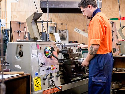 A mechanical engineering student works in the Regional Trades and Technology Centre at our Palmerston North campus