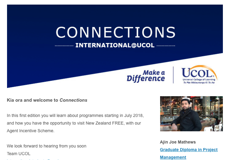 UCOL's Connections newsletter for international agents