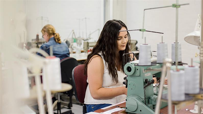 UCOL Bachelor of Design and Arts students sewing