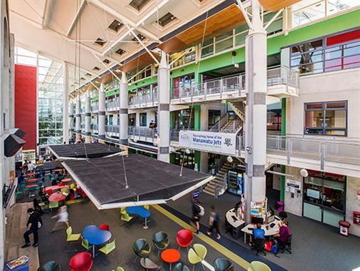 Palmerston North UCOL atrium scene from above with students