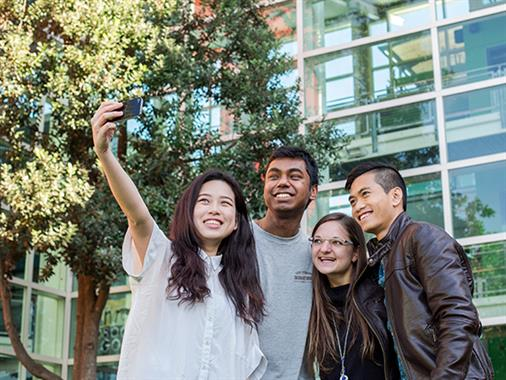 A photograph of a group of people taking a selfie