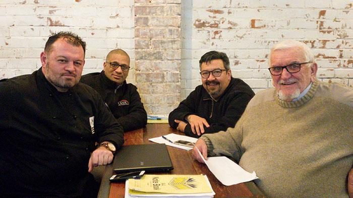 The NZ Chefs Conference Subcommittee of Grant Kitchen (Brew Union), Damian Peeti (UCOL), Sean Kereama (Wharerata), and Gordon Edwards ( NZ Chefs Life Member).