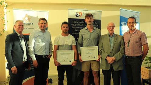 A photograph of UCOL students receiving the Freemasons Willson Lewis Scholarship for qualified tradespeople in the construction industry for  2018.