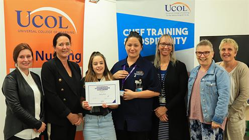 UCOL Chief Executive Dr. Lynn, Janine Devenport (Chair of REAP), Bailey Rink, Teresa Churchward, Hannah Chittick, Claire Renor, and Trish Morison (UCOL Nusing Lecturers).