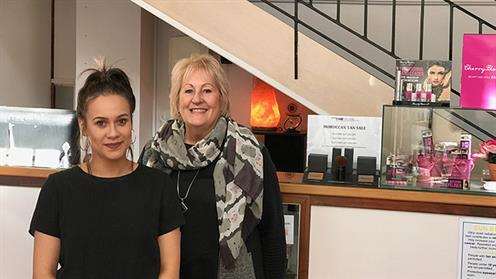 Two women in a salon - UCOL graduate Koralee Tamati and The Edge Beauty salon owner Paula Wade