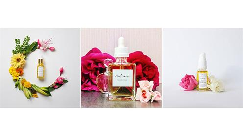 A photograph collage of medina beauty products.