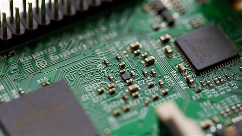 A close-up photograph of a circuit board.