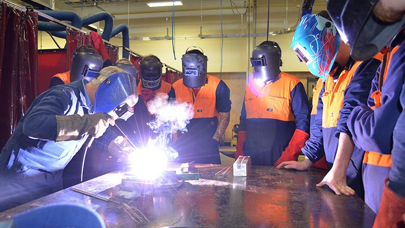 Students learn to weld in our Regional Trades and Technology Centre
