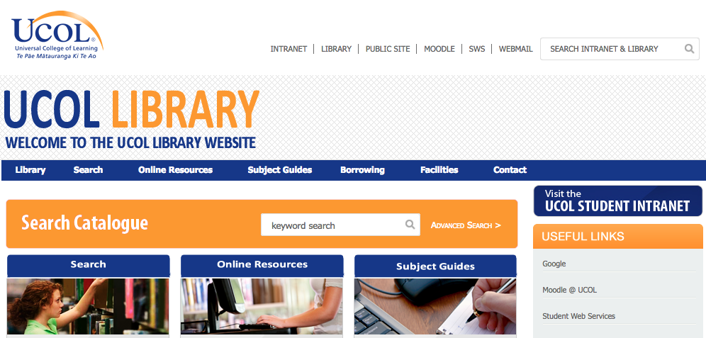 UCOL's library website